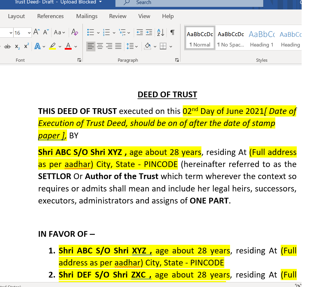 Draft Trust Deed for Public Charitable Trust 1