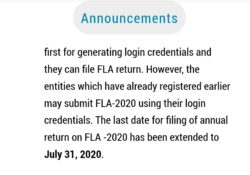 FLA Return Due Date Extended to 31st July 2020 1