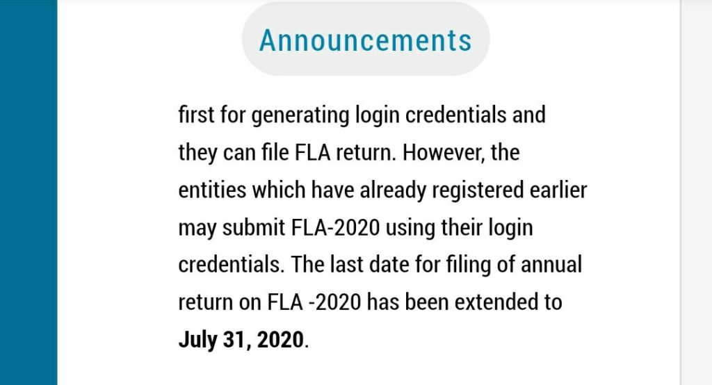 FLA Return Due Date Extended to 31st July 2020 2