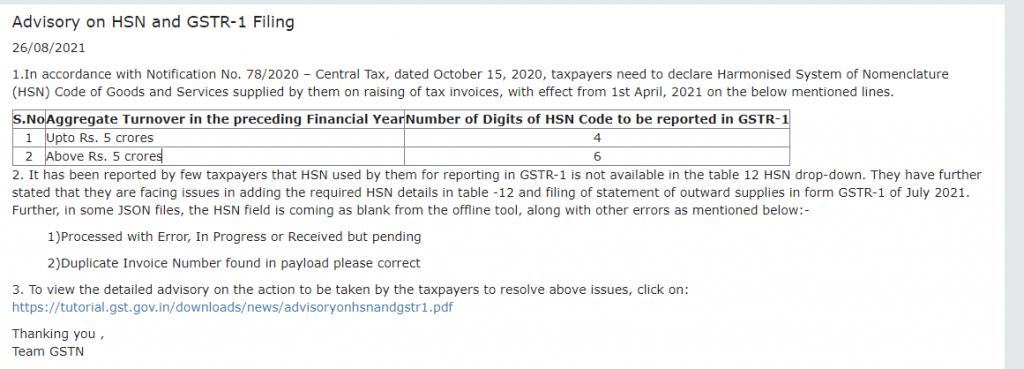HSN Code In GSTR-1 Return