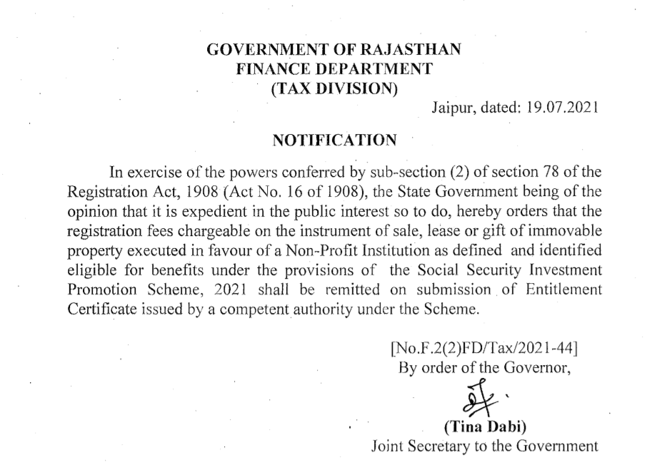Stamp Duty and Registration Fee exemption to NGO